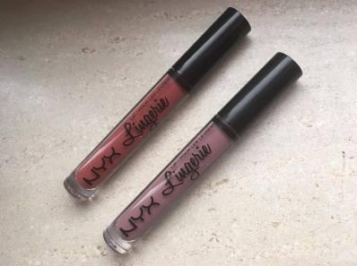 NYX liquid lip lingerie in de kleuren exotic en Embellishment