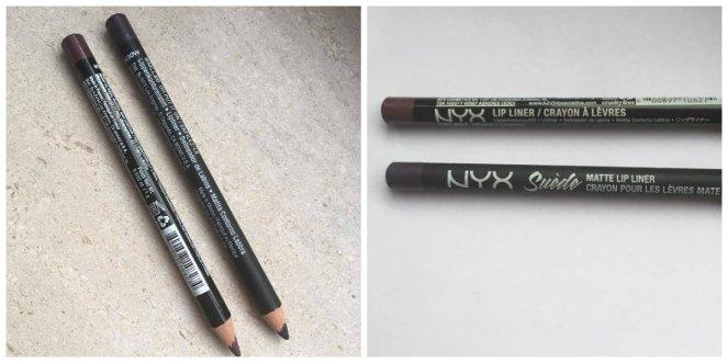 NYX slim lip pencil in de kleur 'Never' en de NYX suede matte lip liner in de kleur 'Oh put it on' – 4,10 euro