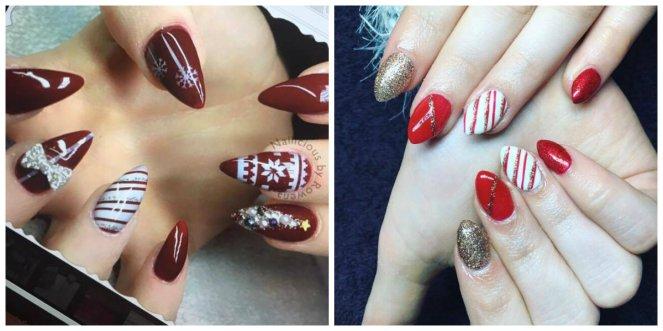 collage met een inspiratiefoto en daarnaast de eigen gelnagels die in het thema kerst zijn