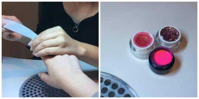 Collage van een nagelstyliste die de nagels in vorm vijlt en drie potjes met gellak waarvan 1 met kleur (neonroze) en 2 met glitter